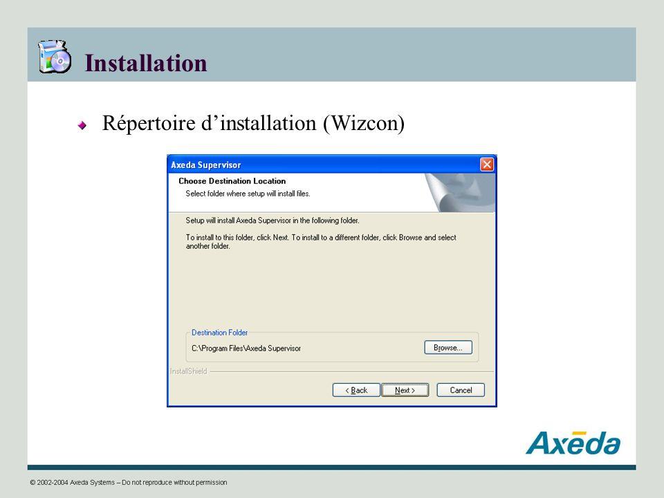Installation Répertoire dinstallation (Wizcon)