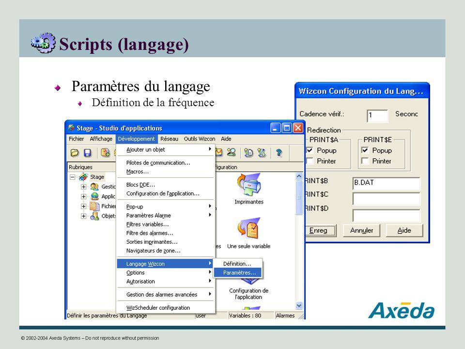 Scripts (langage) Paramètres du langage Définition de la fréquence