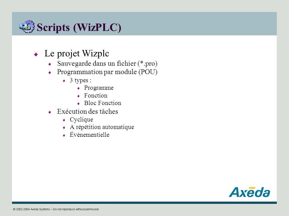 Scripts (WizPLC) Le projet Wizplc Sauvegarde dans un fichier (*.pro) Programmation par module (POU) 3 types : Programme Fonction Bloc Fonction Exécuti