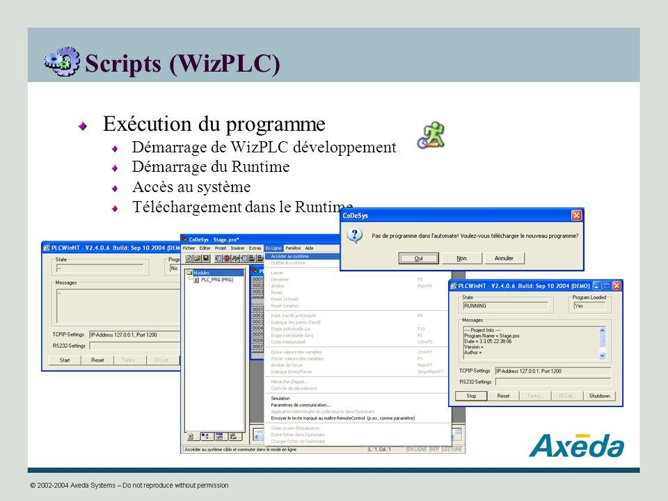 Scripts (WizPLC) Exécution du programme Démarrage de WizPLC développement Démarrage du Runtime Accès au système Téléchargement dans le Runtime