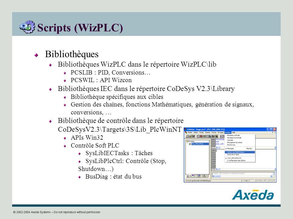 Scripts (WizPLC) Bibliothèques Bibliothèques WizPLC dans le répertoire WizPLC\lib PCSLIB : PID, Conversions… PCSWIL : API Wizcon Bibliothèques IEC dan