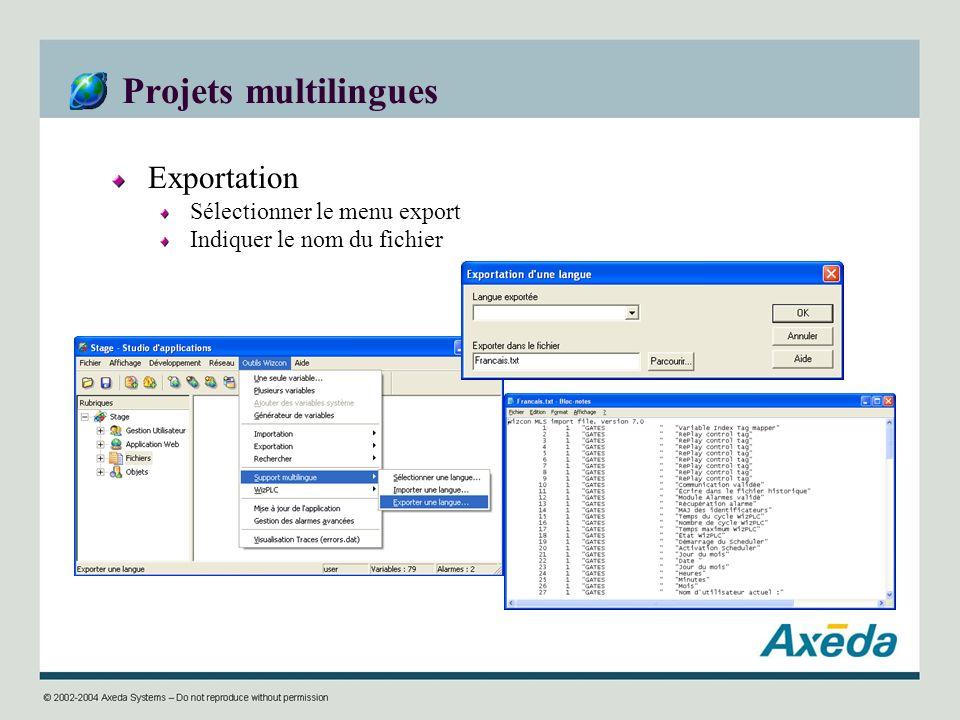 Projets multilingues Exportation Sélectionner le menu export Indiquer le nom du fichier