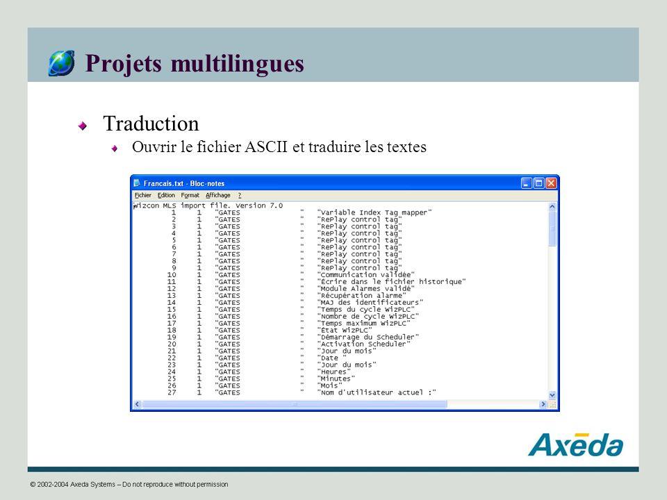 Projets multilingues Traduction Ouvrir le fichier ASCII et traduire les textes