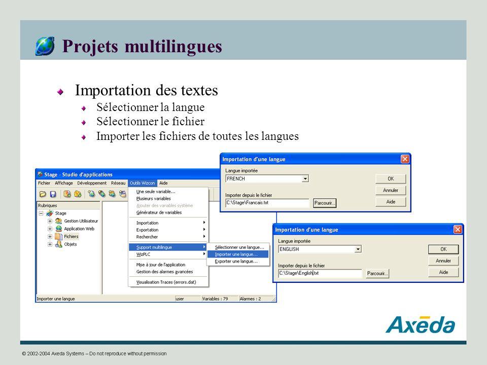 Projets multilingues Importation des textes Sélectionner la langue Sélectionner le fichier Importer les fichiers de toutes les langues