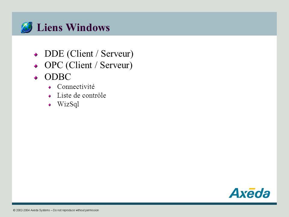 Liens Windows DDE (Client / Serveur) OPC (Client / Serveur) ODBC Connectivité Liste de contrôle WizSql