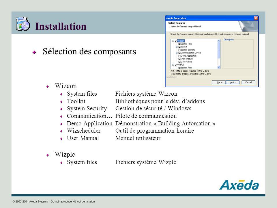 Installation Sélection des composants Wizcon System filesFichiers système Wizcon ToolkitBibliothèques pour le dév. daddons System SecurityGestion de s