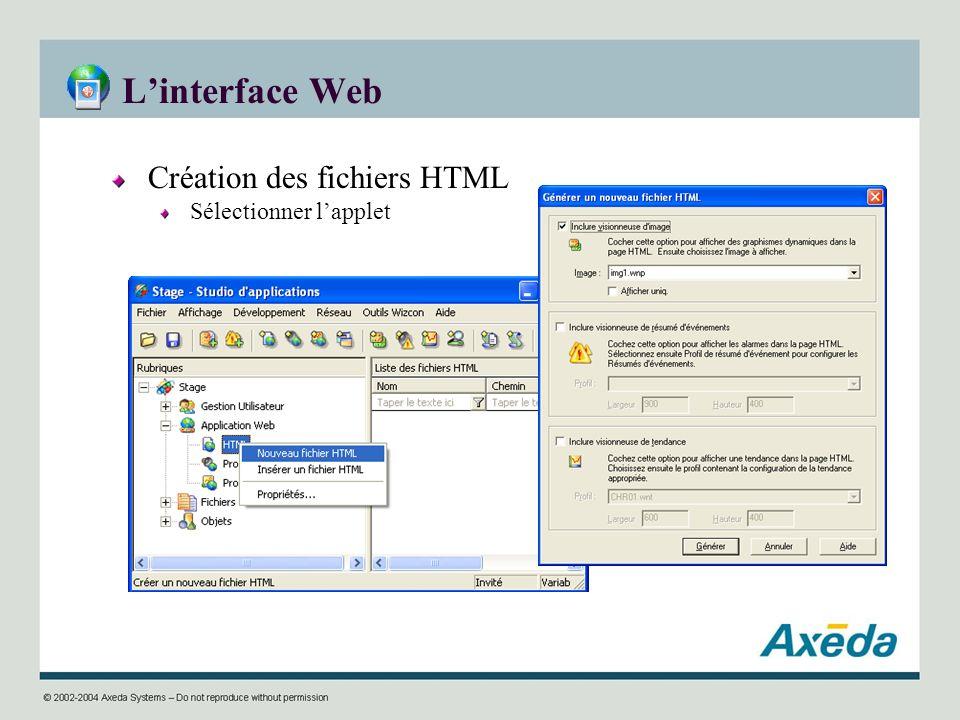 Linterface Web Création des fichiers HTML Sélectionner lapplet