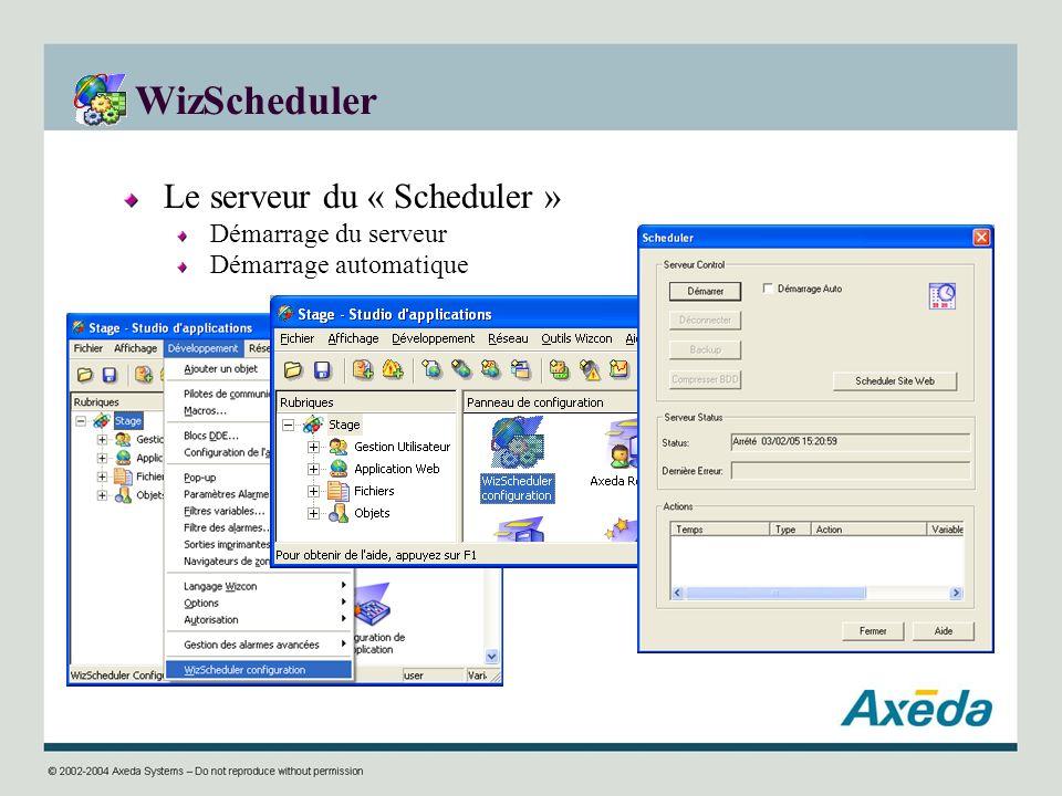 WizScheduler Le serveur du « Scheduler » Démarrage du serveur Démarrage automatique