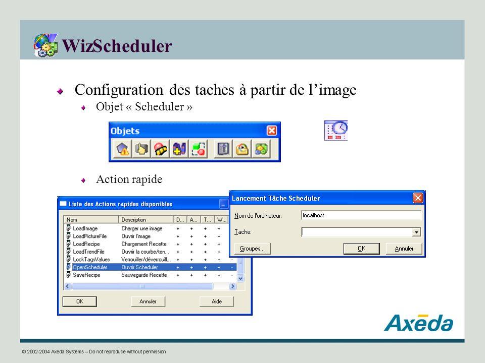 WizScheduler Configuration des taches à partir de limage Objet « Scheduler » Action rapide