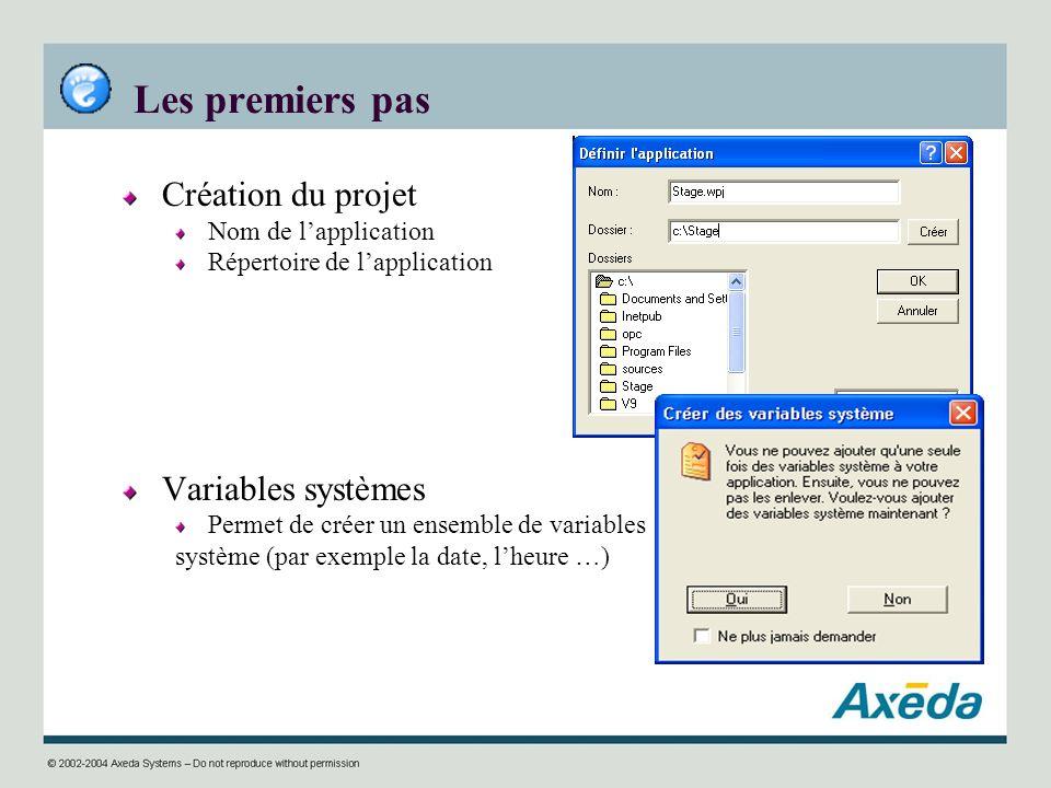 Les premiers pas Création du projet Nom de lapplication Répertoire de lapplication Variables systèmes Permet de créer un ensemble de variables système