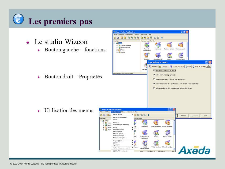 Les premiers pas Le studio Wizcon Bouton gauche = fonctions Bouton droit = Propriétés Utilisation des menus