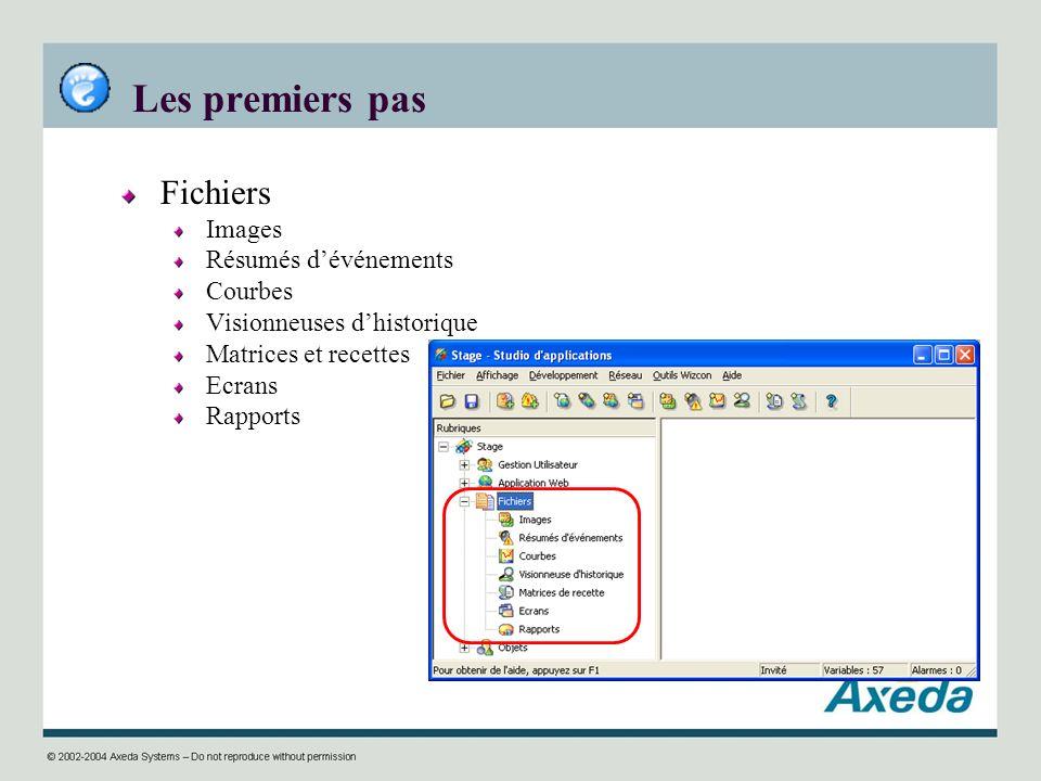 Les premiers pas Fichiers Images Résumés dévénements Courbes Visionneuses dhistorique Matrices et recettes Ecrans Rapports