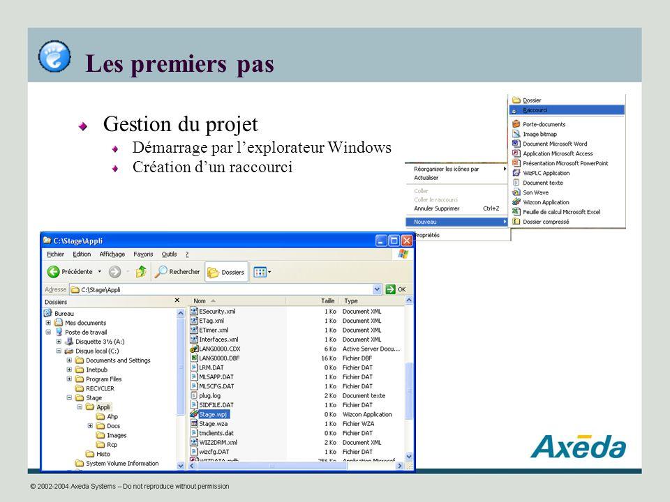 Les premiers pas Gestion du projet Démarrage par lexplorateur Windows Création dun raccourci