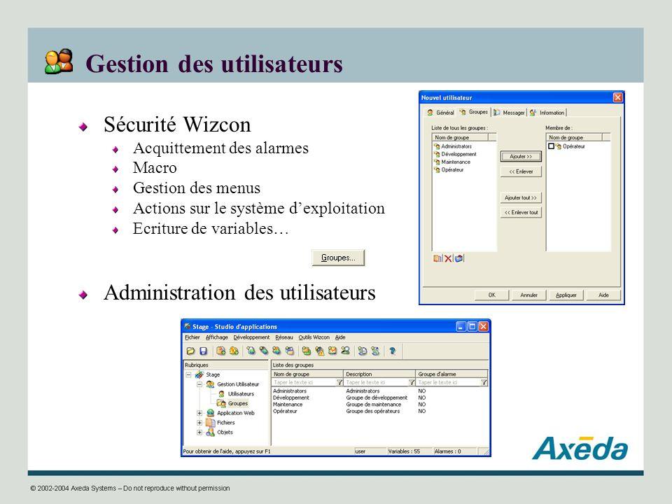 Gestion des utilisateurs Sécurité Wizcon Acquittement des alarmes Macro Gestion des menus Actions sur le système dexploitation Ecriture de variables…
