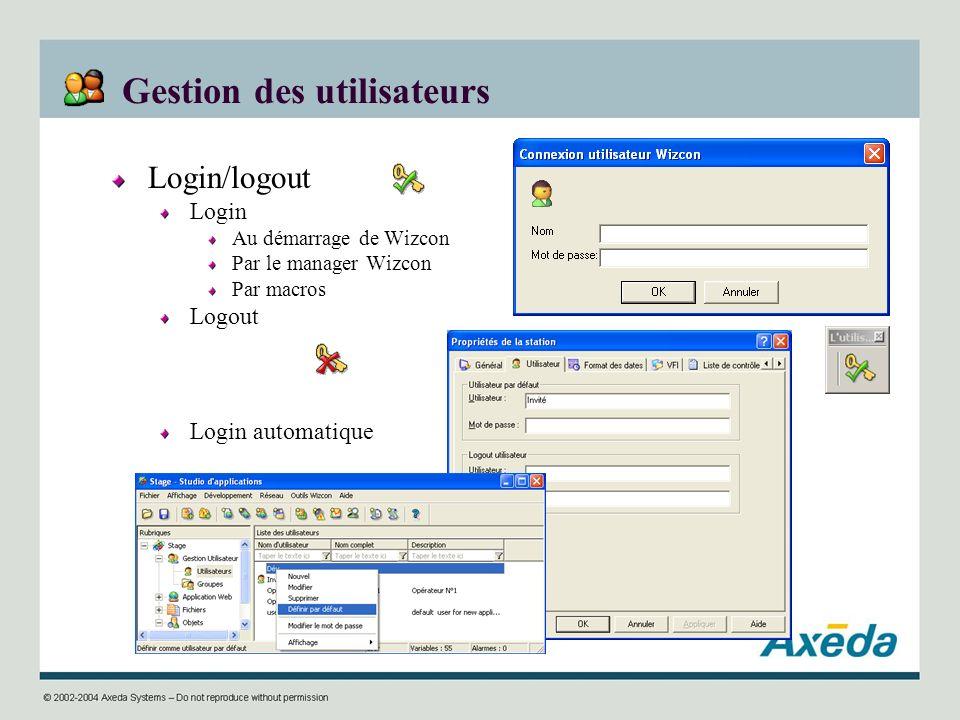 Gestion des utilisateurs Login/logout Login Au démarrage de Wizcon Par le manager Wizcon Par macros Logout Login automatique