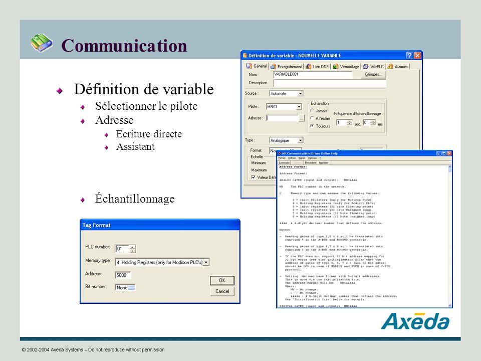 Communication Définition de variable Sélectionner le pilote Adresse Ecriture directe Assistant Échantillonnage