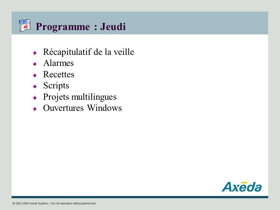 Programme : Jeudi Récapitulatif de la veille Alarmes Recettes Scripts Projets multilingues Ouvertures Windows