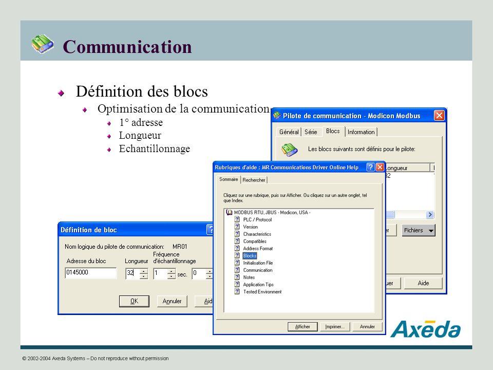 Communication Définition des blocs Optimisation de la communication 1° adresse Longueur Echantillonnage