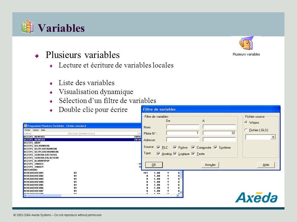 Variables Plusieurs variables Lecture et écriture de variables locales Liste des variables Visualisation dynamique Sélection dun filtre de variables D