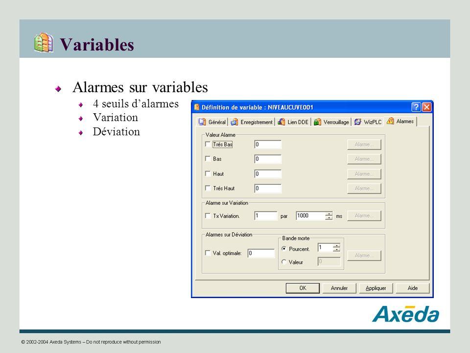 Variables Alarmes sur variables 4 seuils dalarmes Variation Déviation