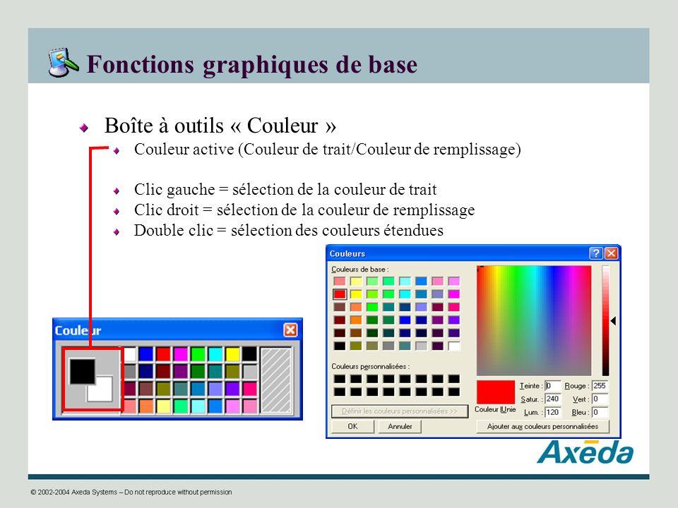 Fonctions graphiques de base Boîte à outils « Couleur » Couleur active (Couleur de trait/Couleur de remplissage) Clic gauche = sélection de la couleur