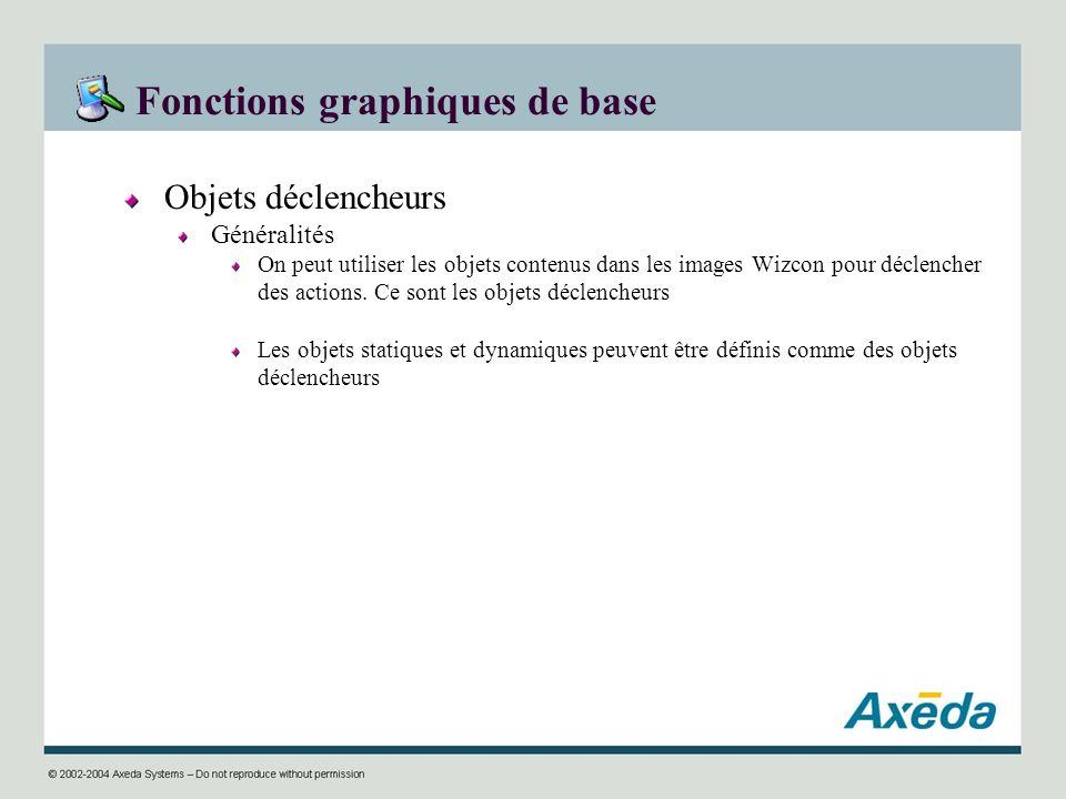 Fonctions graphiques de base Objets déclencheurs Généralités On peut utiliser les objets contenus dans les images Wizcon pour déclencher des actions.