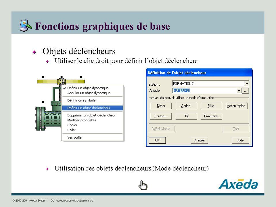 Fonctions graphiques de base Objets déclencheurs Utiliser le clic droit pour définir lobjet déclencheur Utilisation des objets déclencheurs (Mode décl