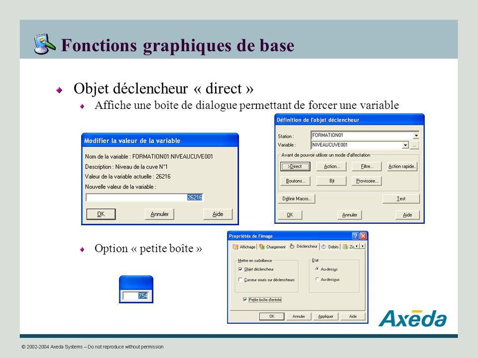 Fonctions graphiques de base Objet déclencheur « direct » Affiche une boîte de dialogue permettant de forcer une variable Option « petite boîte »
