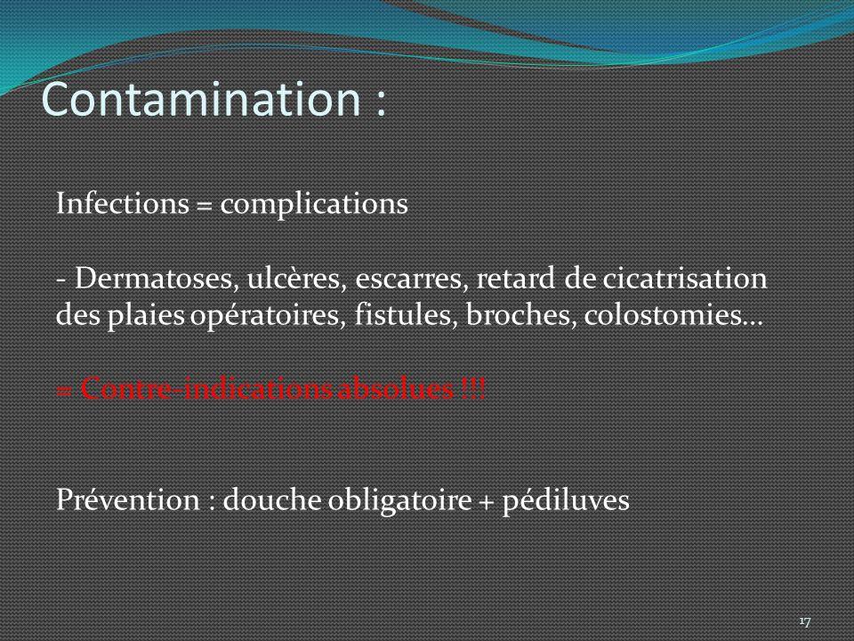 Contre-indications de lhydrokinésithérapie: Générales : Complications dordre infectieux - contamination de leau.