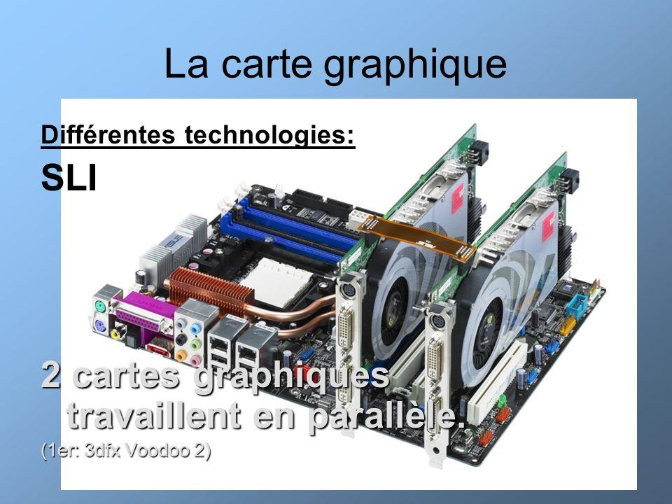 La carte graphique Différentes technologies: SLI 2 cartes graphiques travaillent en parallèle. (1er: 3dfx Voodoo 2)