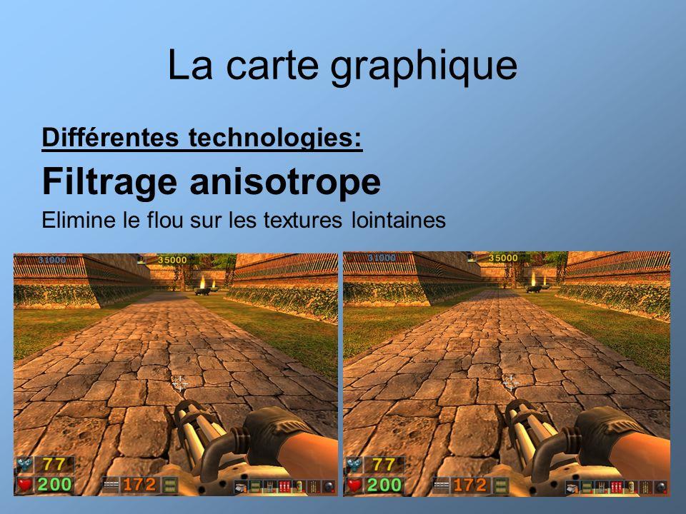 La carte graphique Différentes technologies: Filtrage anisotrope Elimine le flou sur les textures lointaines