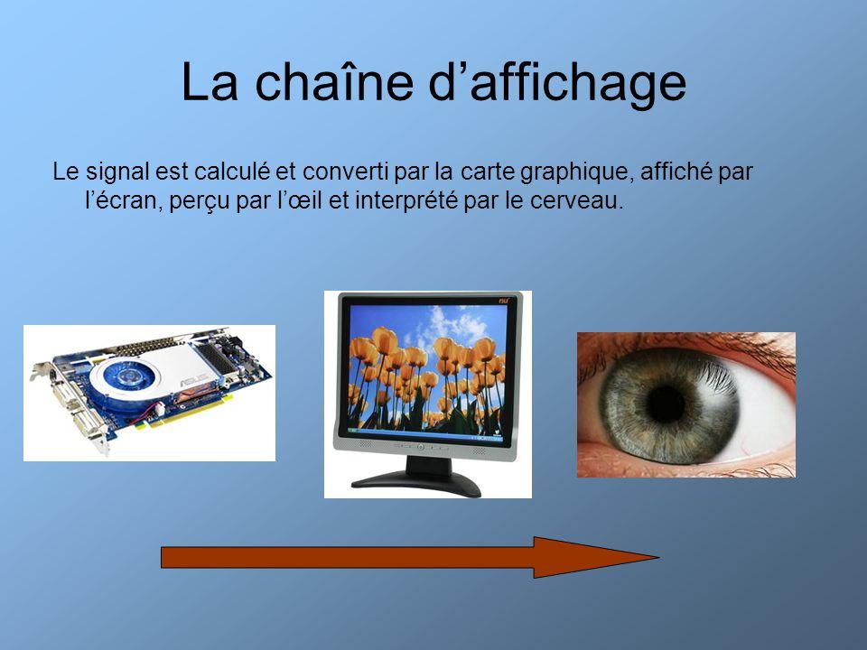 La chaîne daffichage Le signal est calculé et converti par la carte graphique, affiché par lécran, perçu par lœil et interprété par le cerveau.