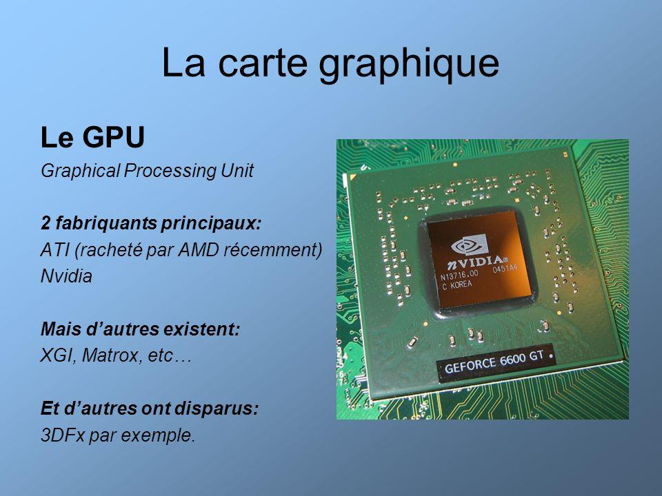 La carte graphique Evolution des GPU 1996: 3DFx Voodoo 1 (1M de transistors gravés en 500nm) 1997: ATI 3D Rage Pro 1998: 3DFx Voodoo 2 (apparition du SLI) 1999: Nvidia Geforce 2000: ATI Radeon – Nvidia Geforce 2 2001: ATI Radeon 8500 – Nvidia Geforce3 2002:ATI Radeon 9700 – Nvidia Geforce 4 … 2007: ATI Radeon HD2900 – Geforce 8800 XT Geforce 8800XT (680M de transistors gravés en 90nm)