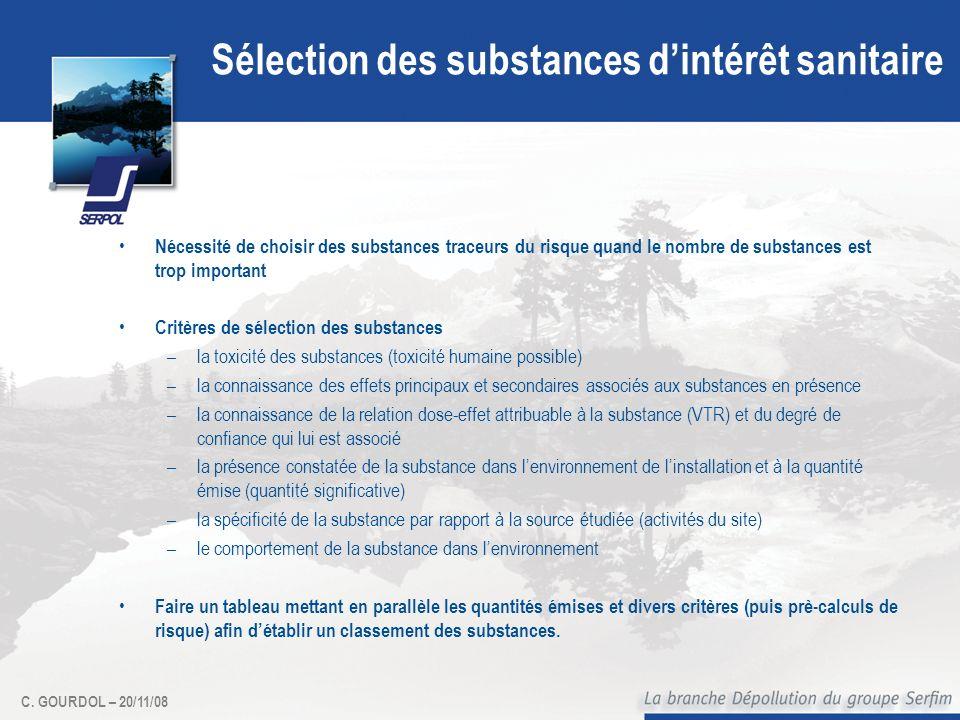 C. GOURDOL – 20/11/08 Sélection des substances dintérêt sanitaire Nécessité de choisir des substances traceurs du risque quand le nombre de substances