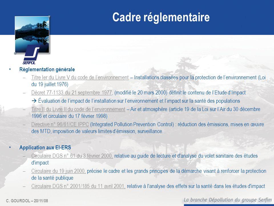 C. GOURDOL – 20/11/08 Cadre réglementaire Réglementation générale –Titre Ier du Livre V du code de lenvironnement – Installations classées pour la pro