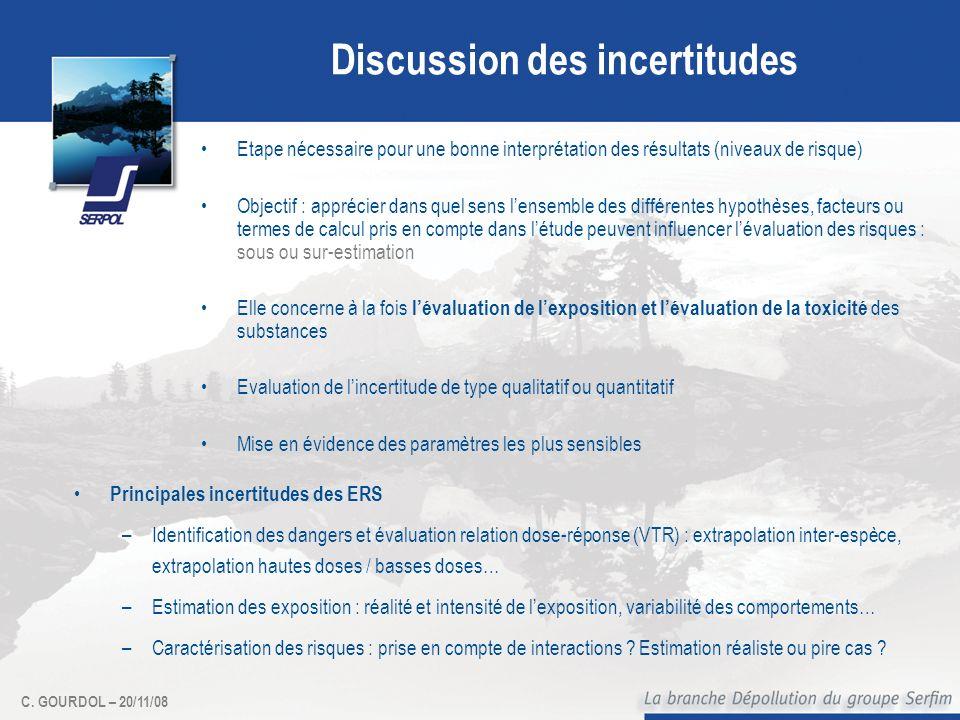 C. GOURDOL – 20/11/08 Discussion des incertitudes Etape nécessaire pour une bonne interprétation des résultats (niveaux de risque) Objectif : apprécie
