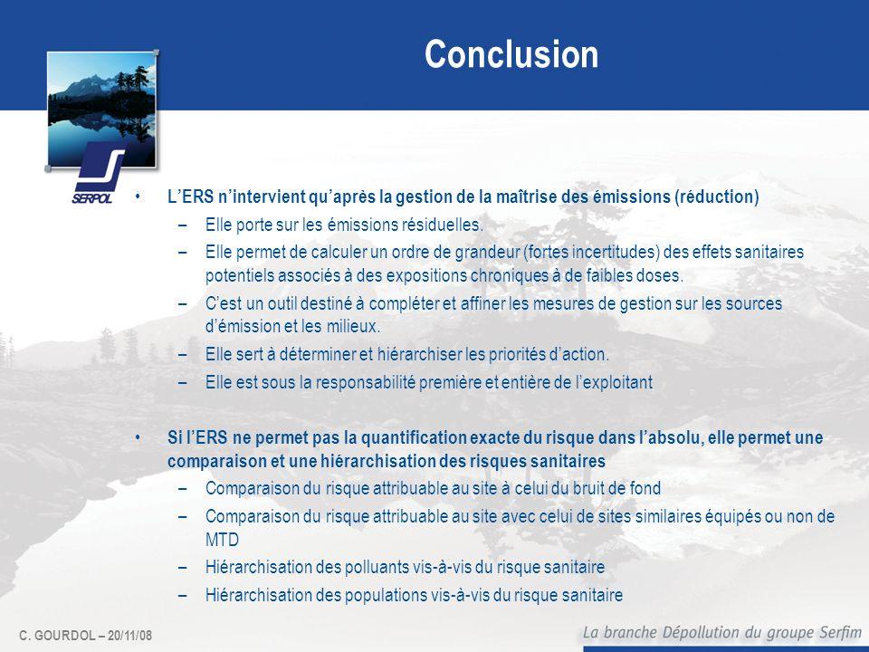 C. GOURDOL – 20/11/08 Conclusion LERS nintervient quaprès la gestion de la maîtrise des émissions (réduction) –Elle porte sur les émissions résiduelle