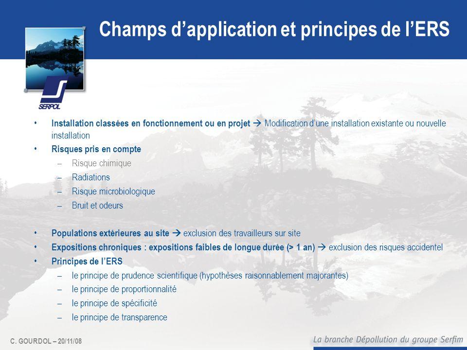 C. GOURDOL – 20/11/08 Champs dapplication et principes de lERS Installation classées en fonctionnement ou en projet Modification dune installation exi