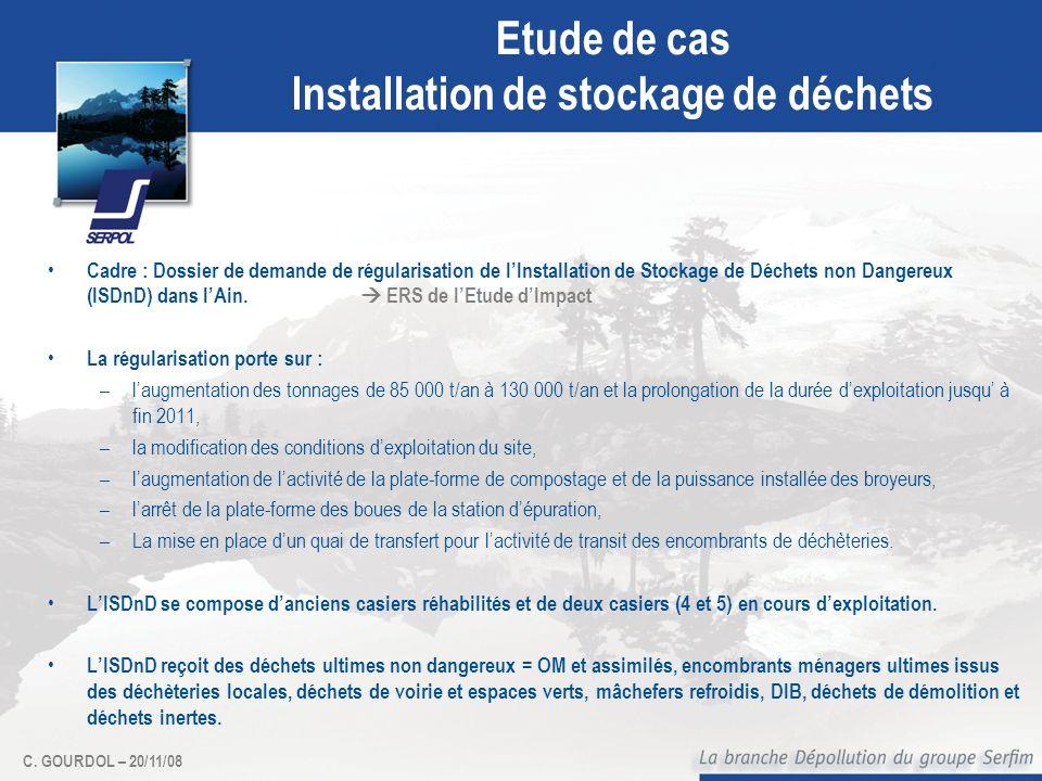 C. GOURDOL – 20/11/08 Etude de cas Installation de stockage de déchets Cadre : Dossier de demande de régularisation de lInstallation de Stockage de Dé