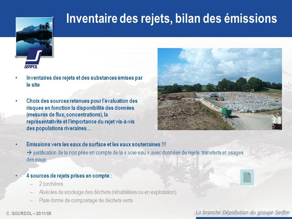 C. GOURDOL – 20/11/08 Inventaire des rejets, bilan des émissions Inventaires des rejets et des substances émises par le site Choix des sources retenue