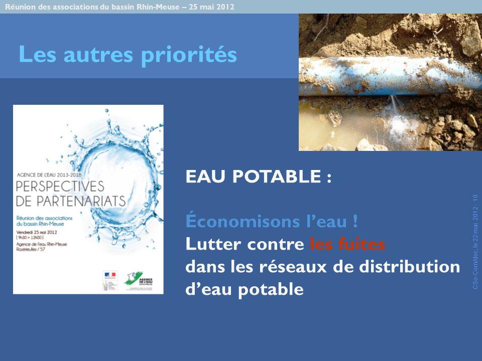 Réunion des associations du bassin Rhin-Meuse – 25 mai 2012 CSo-Com/doc, le 22 mai 2012 - 10 Les autres priorités EAU POTABLE : Économisons leau .