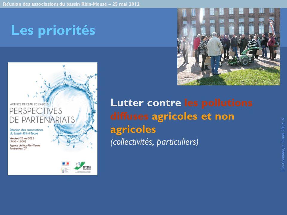Réunion des associations du bassin Rhin-Meuse – 25 mai 2012 CSo-Com/doc, le 22 mai 2012 - 5 Les priorités Lutter contre les pollutions diffuses agricoles et non agricoles (collectivités, particuliers)