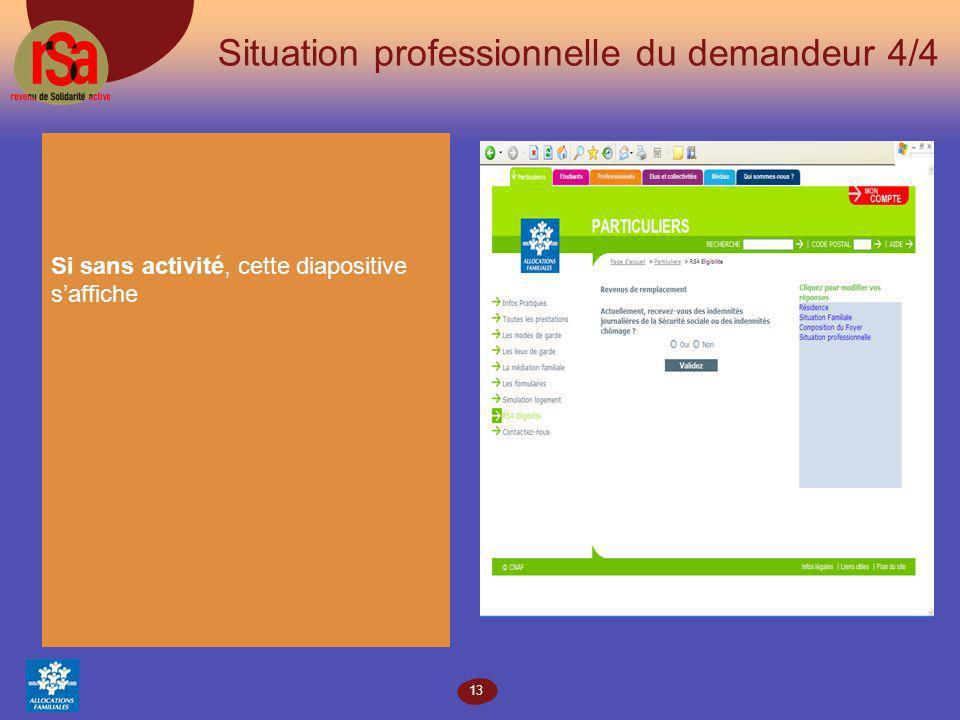 13 Situation professionnelle du demandeur 4/4 Si sans activité, cette diapositive saffiche