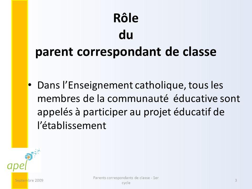Rôle du parent correspondant de classe Dans lEnseignement catholique, tous les membres de la communauté éducative sont appelés à participer au projet