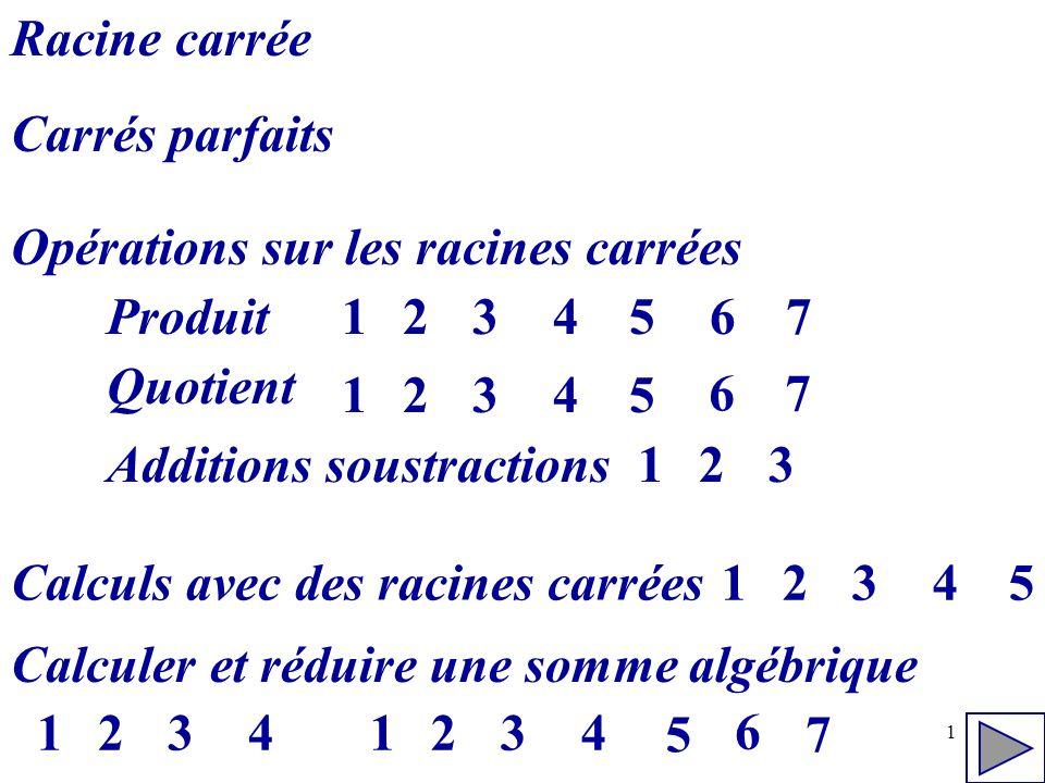 1 Racine carrée Carrés parfaits Opérations sur les racines carrées Produit Quotient 234567 Additions soustractions 1 23451 67 231 Calculs avec des rac