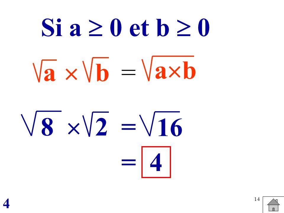 14 ab = a b Si a 0 et b 0 82 = 16 =4 4