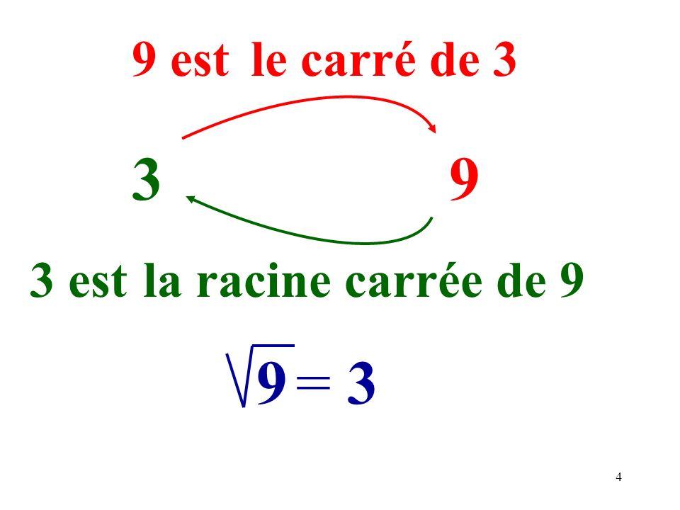 4 39 9 est 3 est 9=3 le carré de 3 la racine carrée de 9