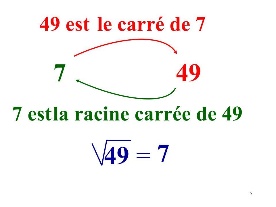 5 749 49 est 7 est 49= 7 le carré de 7 la racine carrée de 49