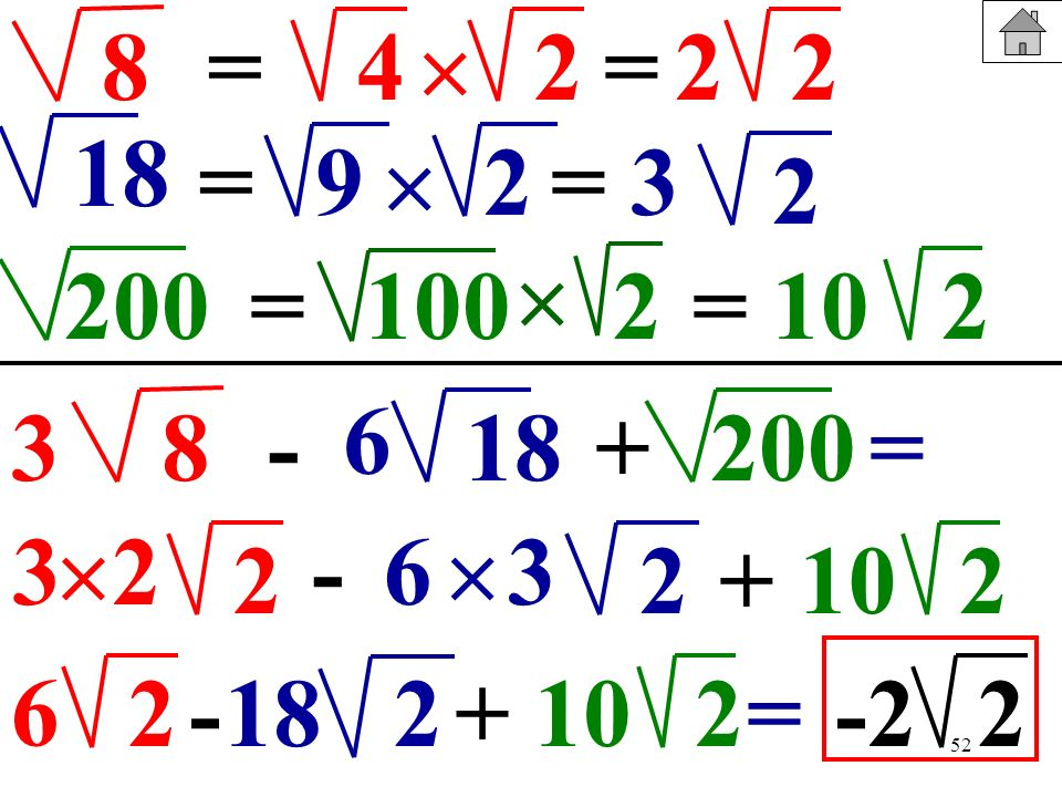 52 8= = 18 200= 2 9= 1002 2 422= 2 3 =210 83-+18200= 6 3 2 - 2+2 6 10 6 2-2+ 10218=-22 3 2