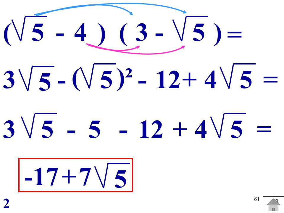 61 5(3 -5) = () -4 5 - 5- ()² 12+4 5= 5 - -5 +4 5 = -17+7 5 3 3 2